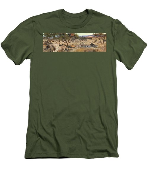 Men's T-Shirt (Slim Fit) featuring the painting Arrival by Rob Corsetti