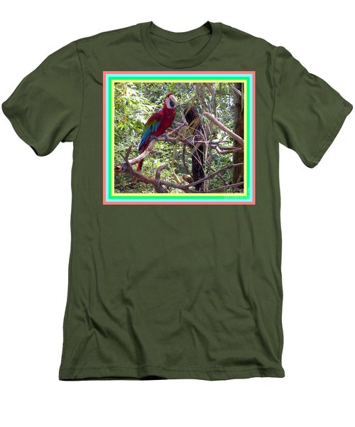 Men's T-Shirt (Slim Fit) featuring the photograph Artistic Wild Hawaiian Parrot by Joseph Baril