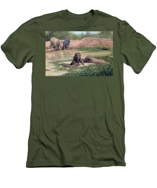 Asian Elephants - In Support Of Boon Lott's Elephant Sanctuary Men's T-Shirt (Athletic Fit)