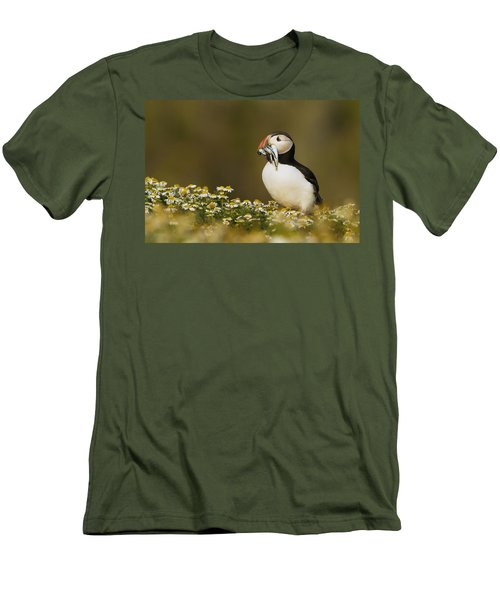 Atlantic Puffin Carrying Fish Skomer Men's T-Shirt (Slim Fit) by Sebastian Kennerknecht