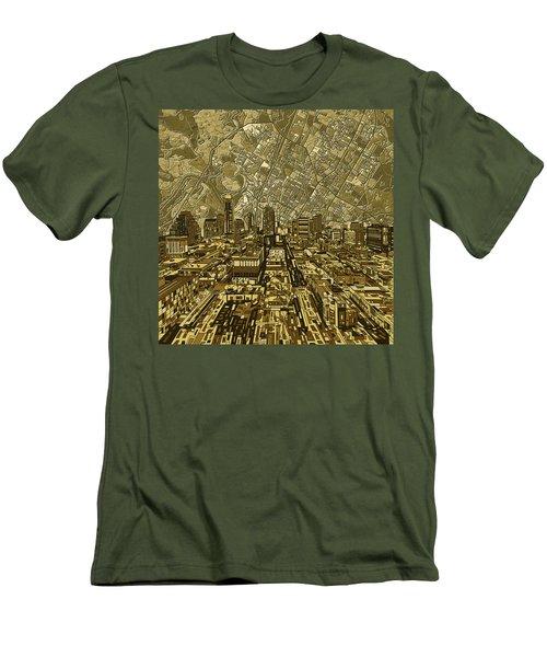 Austin Texas Vintage Panorama Men's T-Shirt (Slim Fit) by Bekim Art