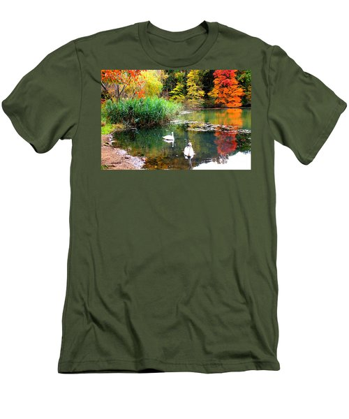 Autumn By The Swan Lake Men's T-Shirt (Slim Fit) by Dora Sofia Caputo Photographic Art and Design