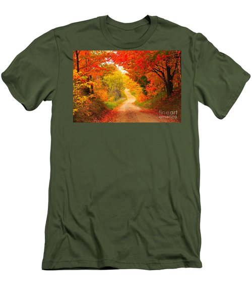 Men's T-Shirt (Slim Fit) featuring the photograph Autumn Cameo Road by Terri Gostola