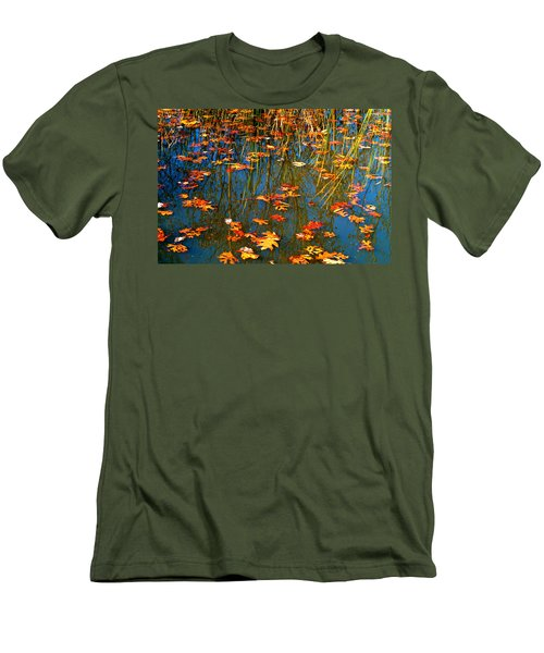 Men's T-Shirt (Slim Fit) featuring the photograph Autumn  Floating by Peggy Franz