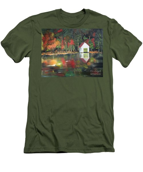 Men's T-Shirt (Athletic Fit) featuring the painting Autumn - Lake - Reflecton by Jan Dappen