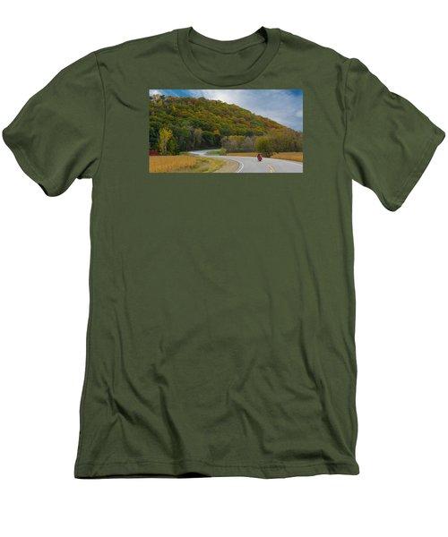 Autumn Motorcycle Rider / Orange Men's T-Shirt (Slim Fit) by Patti Deters