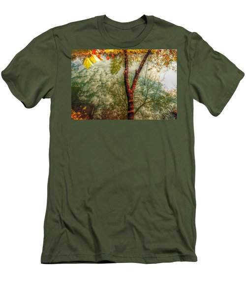 Men's T-Shirt (Slim Fit) featuring the photograph Autumn Reflection  by Peggy Franz