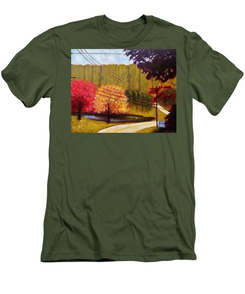 Men's T-Shirt (Slim Fit) featuring the painting Autumn Slopes by Jason Williamson