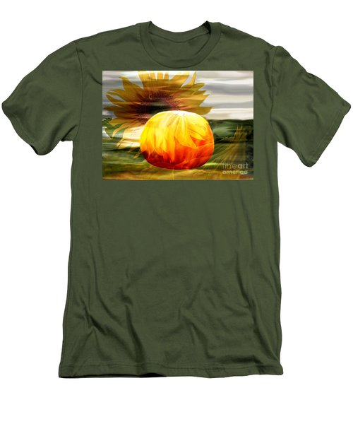 Men's T-Shirt (Slim Fit) featuring the photograph Autumn Sunflower And Pumpkin by Annie Zeno