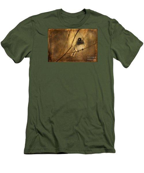 Backlit Birdie Being Buffeted  Men's T-Shirt (Slim Fit) by Lois Bryan