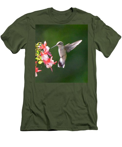 Backlit Fuchsia And Hummer Men's T-Shirt (Slim Fit) by Amy Porter