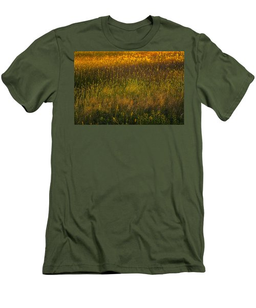 Men's T-Shirt (Slim Fit) featuring the photograph Backlit Meadow Grasses by Marty Saccone