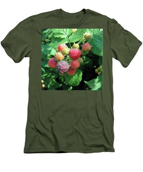 Men's T-Shirt (Slim Fit) featuring the photograph Fruit- Black Raspberries - Luther Fine Art by Luther Fine Art
