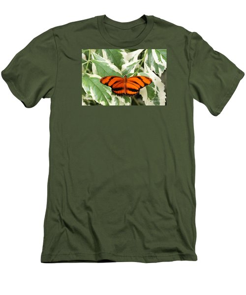 Banded Orange Longwing Butterfly Men's T-Shirt (Slim Fit) by Judy Whitton