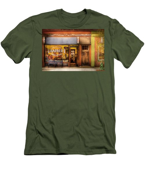 Barber - Towne Barber Shop Men's T-Shirt (Slim Fit) by Mike Savad