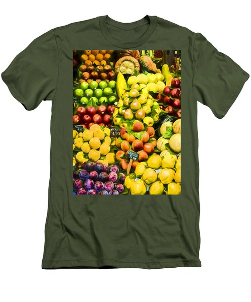 Men's T-Shirt (Athletic Fit) featuring the photograph Barcelona Market Fruit by Steven Sparks