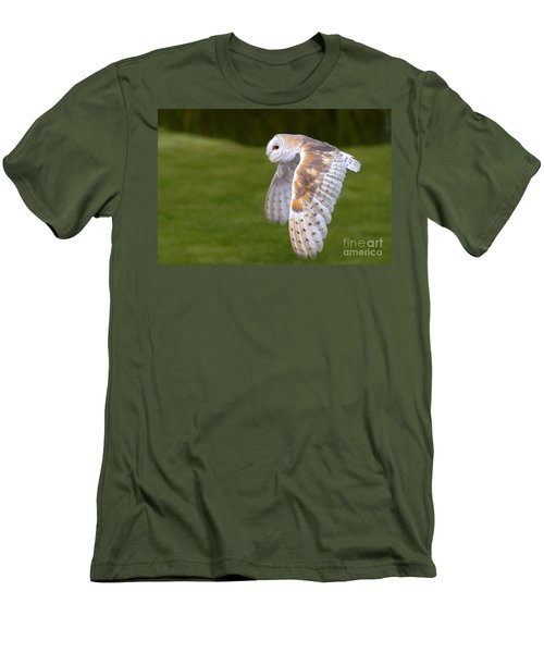 Men's T-Shirt (Slim Fit) featuring the photograph Barn Owl In Flight by Nick  Biemans