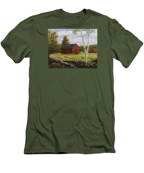 Barn With Lone Birch Men's T-Shirt (Slim Fit) by Alan Mager