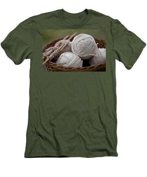 Basket Of Yarn Men's T-Shirt (Slim Fit) by Wilma  Birdwell