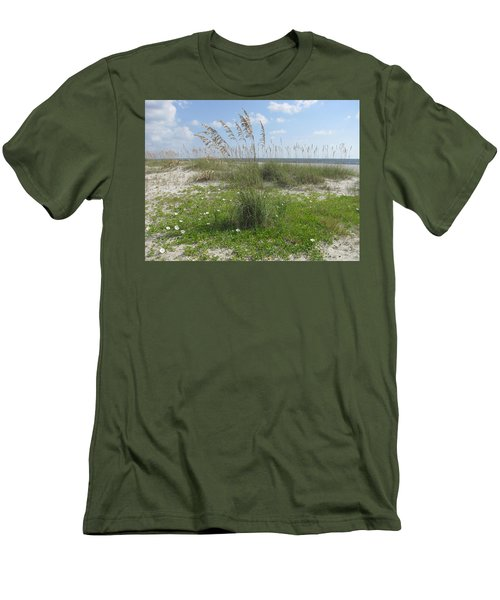Beach Flowers And Oats 2 Men's T-Shirt (Slim Fit) by Ellen Meakin