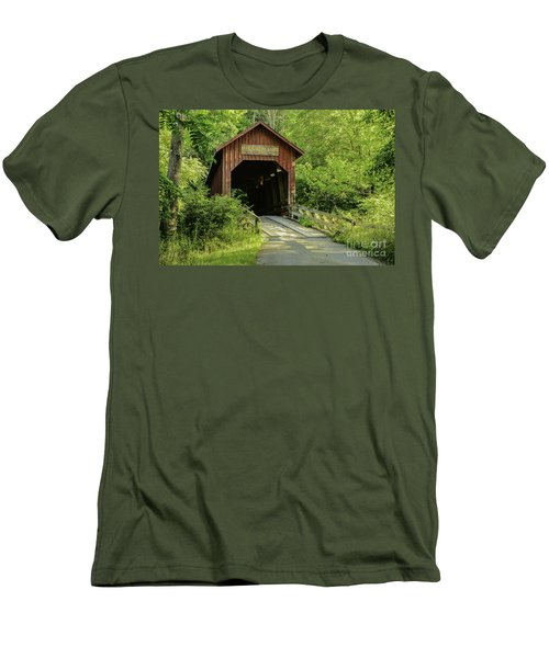 Bean Blossom Covered Bridge Men's T-Shirt (Athletic Fit)