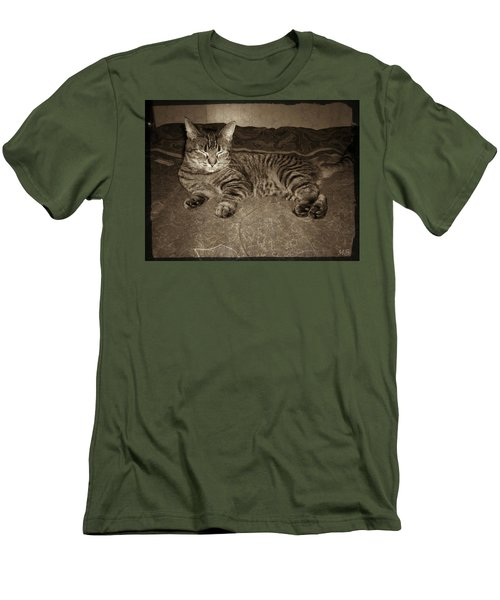 Men's T-Shirt (Slim Fit) featuring the photograph Beautiful Tabby Cat by Absinthe Art By Michelle LeAnn Scott