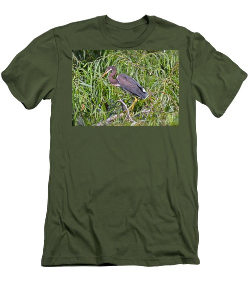 Men's T-Shirt (Slim Fit) featuring the photograph Beautiful Tricolored Heron by Carol  Bradley