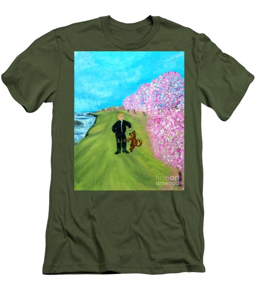 Men's T-Shirt (Slim Fit) featuring the painting Best Friends. Painting. Promotion by Oksana Semenchenko