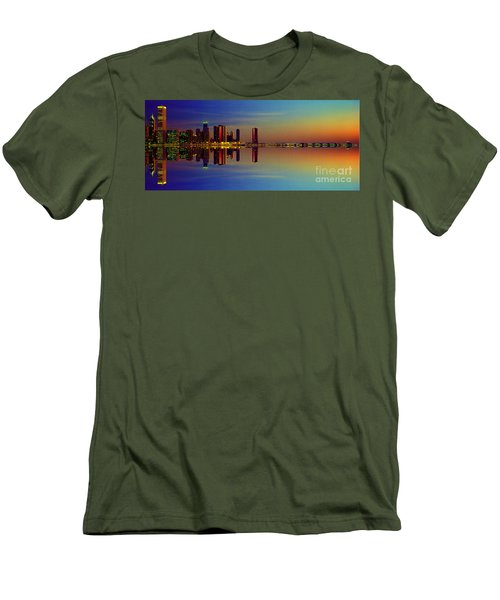 Between Night And Day Chicago Skyline Mirrored Men's T-Shirt (Athletic Fit)