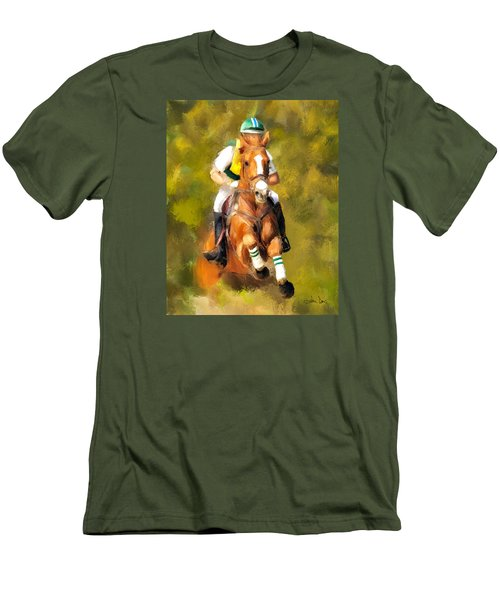 Men's T-Shirt (Slim Fit) featuring the photograph Between The Flags by Joan Davis