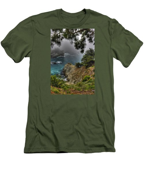 Big Sur Julia Pfeiffer State Park-1 Central California Coast Spring Early Afternoon Men's T-Shirt (Slim Fit) by Michael Mazaika