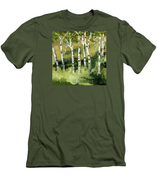 Men's T-Shirt (Athletic Fit) featuring the painting Birches On A Hill by Michelle Calkins