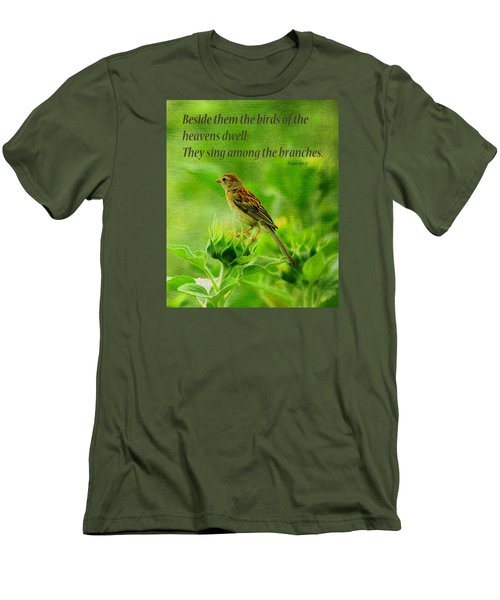 Bird In A Sunflower Field Scripture Men's T-Shirt (Athletic Fit)