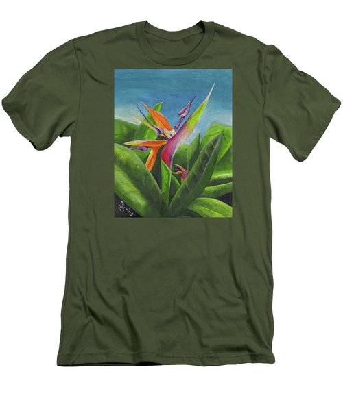 Men's T-Shirt (Athletic Fit) featuring the painting Hawaiian Bird Of Paradise by Thomas J Herring