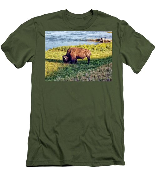 Men's T-Shirt (Slim Fit) featuring the photograph Bison 4 by Dawn Eshelman