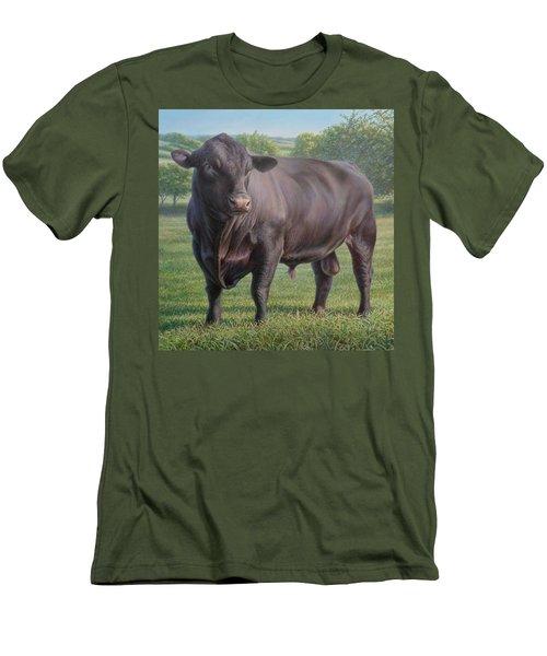 Black Angus Bull 2 Men's T-Shirt (Slim Fit) by Hans Droog