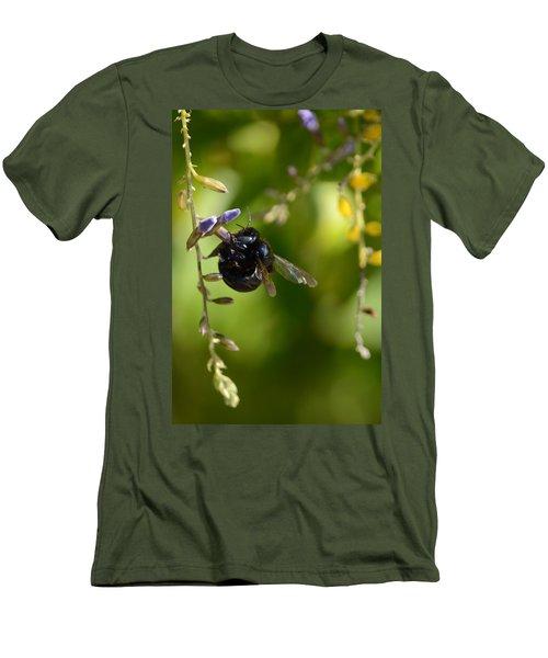 Black Bumblebee Men's T-Shirt (Slim Fit) by Debra Martz