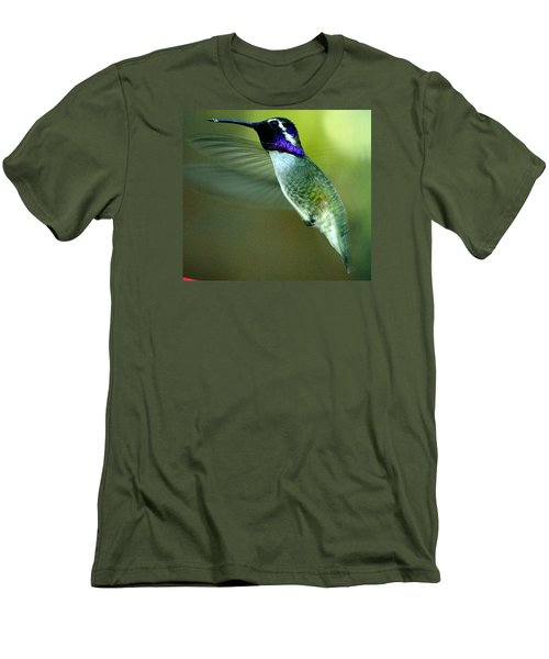 Men's T-Shirt (Slim Fit) featuring the photograph Black Chinned Male In Flight To Feeder by Jay Milo