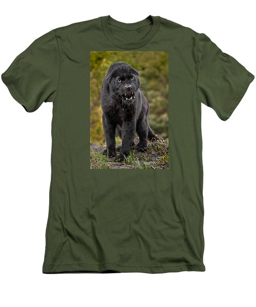 Black Panther Men's T-Shirt (Slim Fit) by Jerry Fornarotto