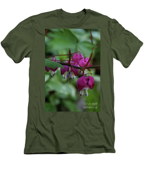 Men's T-Shirt (Slim Fit) featuring the photograph Bleeding Heart by Linda Shafer