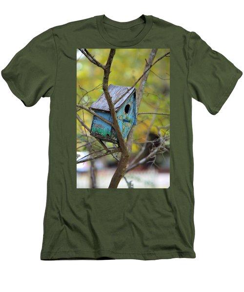 Men's T-Shirt (Slim Fit) featuring the photograph Blue Birdhouse by Gordon Elwell