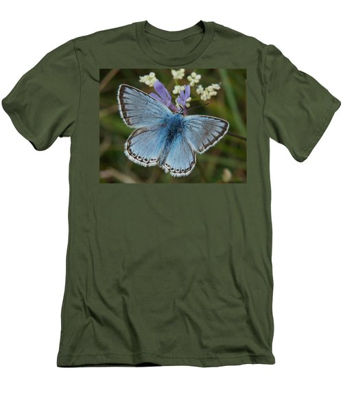Men's T-Shirt (Slim Fit) featuring the digital art Blue Butterfly by Ron Harpham