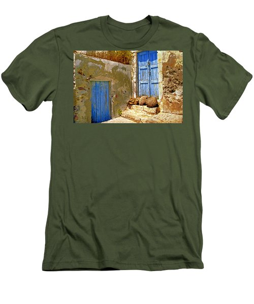 Blue Doors Of Santorini Men's T-Shirt (Athletic Fit)