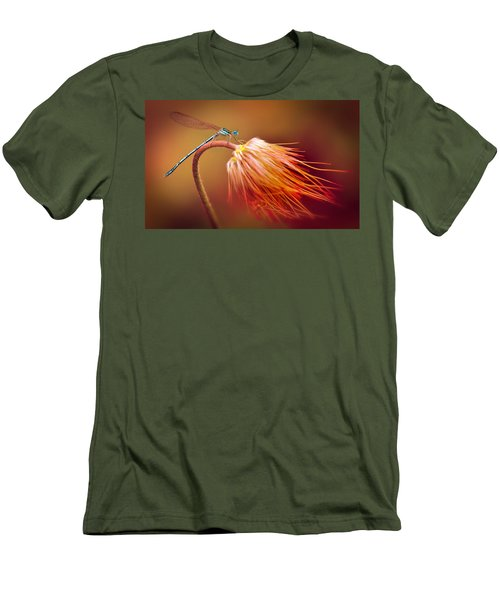 Blue Dragonfly On A Dry Flower Men's T-Shirt (Slim Fit) by Jaroslaw Blaminsky