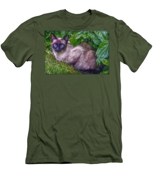 Men's T-Shirt (Slim Fit) featuring the photograph Blue Eyes - Signed by Hanny Heim