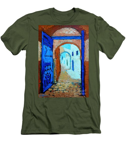 Men's T-Shirt (Slim Fit) featuring the painting Blue Gate by Ana Maria Edulescu
