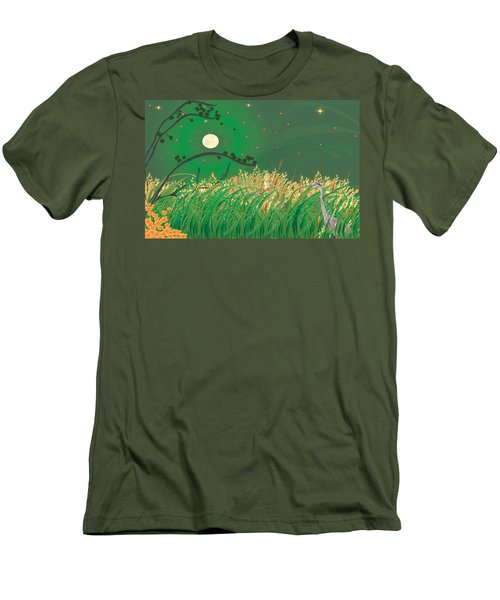Blue Heron Grasses Men's T-Shirt (Athletic Fit)