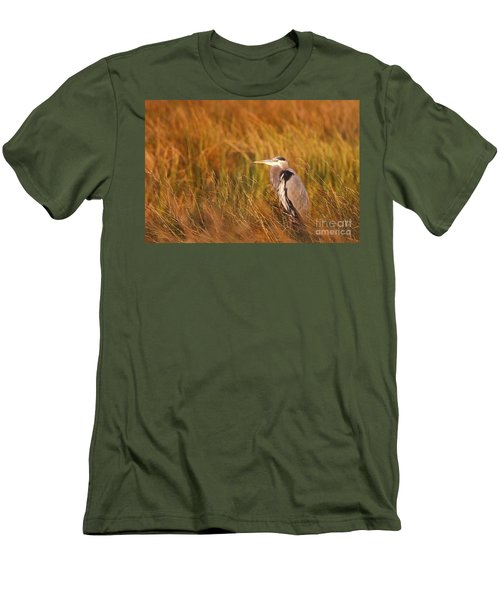 Men's T-Shirt (Slim Fit) featuring the photograph Blue Heron In Louisiana Marsh by Luana K Perez