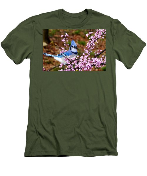 Blue Jay In The Pink Men's T-Shirt (Athletic Fit)