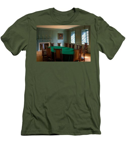 Men's T-Shirt (Slim Fit) featuring the photograph Blue Room 2 Wren Building by Jerry Gammon